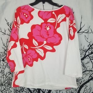 Talbots | White & Pink Flower Tee 3/4 sleeve    XL